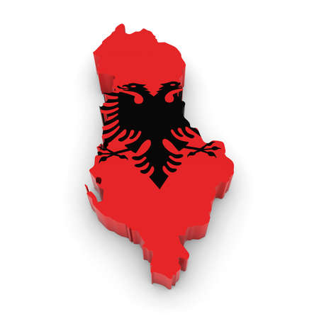 albanian: 3D Illustration Map Outline of Albania with the Albanian Flag Stock Photo