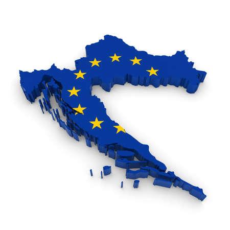 european union flag: 3D Illustration Map Outline of Croatia with the European Union Flag