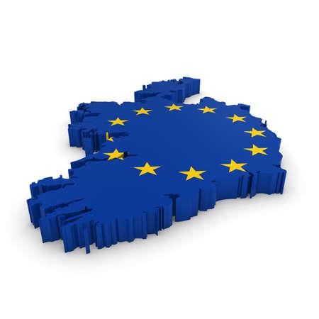 european union flag: 3D Illustration Map Outline of Ireland with the European Union Flag Stock Photo