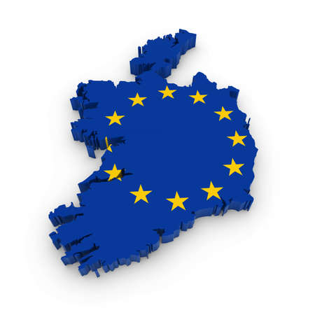 irish map: 3D Illustration Map Outline of Ireland with the European Union Flag Stock Photo