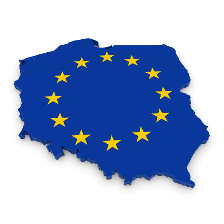 three dimensional shape: 3D Illustration Map Outline of Poland with the European Union Flag