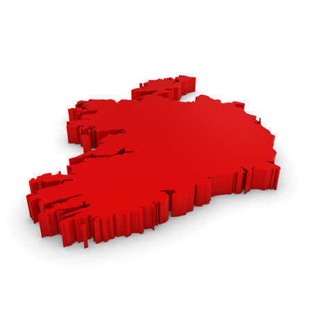 three dimensional shape: Red 3D Illustration Map Outline of Ireland Isolated on White