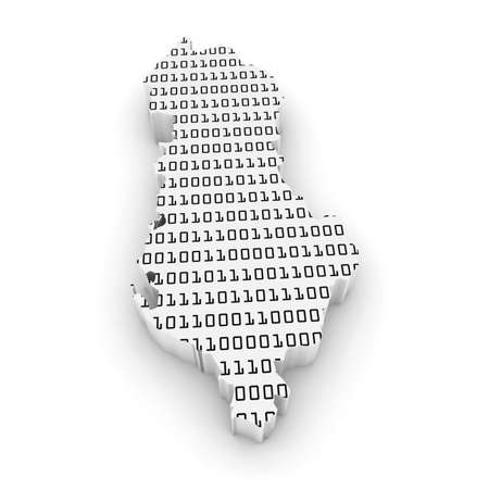 binary code: 3D Illustration Map Outline of Albania with Black and White Binary Code Stock Photo