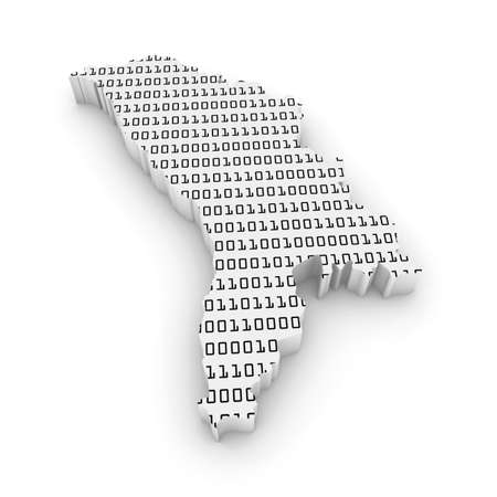 D Illustration Map Outline Of Moldova With Black And White Binary - Moldova map outline