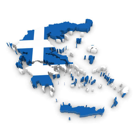 greek flag: 3D Illustration Map Outline of Greece with the Greek Flag Stock Photo