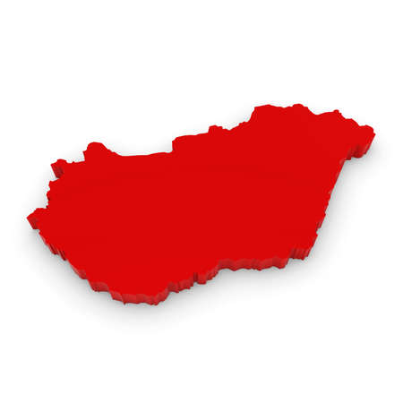 three dimensional shape: Red 3D Illustration Map Outline of Hungary Isolated on White