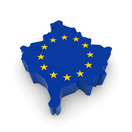 three dimensional shape: 3D Illustration Map Outline of Kosovo with the European Union Flag