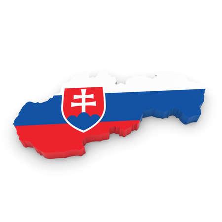slovakian: 3D Illustration Map Outline of Slovakia with the Slovakian Flag