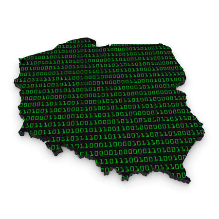 binary code: 3D Illustration Map Outline of Poland with Green Binary Code Stock Photo