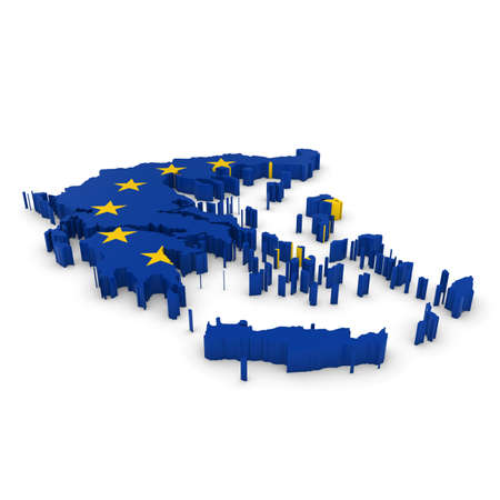 three dimensional shape: 3D Illustration Map Outline of Greece with the European Union Flag