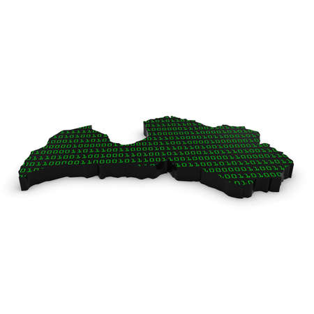 binary code: 3D Illustration Map Outline of Latvia with Green Binary Code Stock Photo