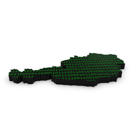 binary code: 3D Illustration Map Outline of Austria with Green Binary Code Stock Photo