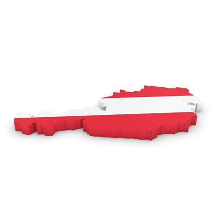 three dimensional shape: 3D Illustration Map Outline of Austria with the Austrian Flag