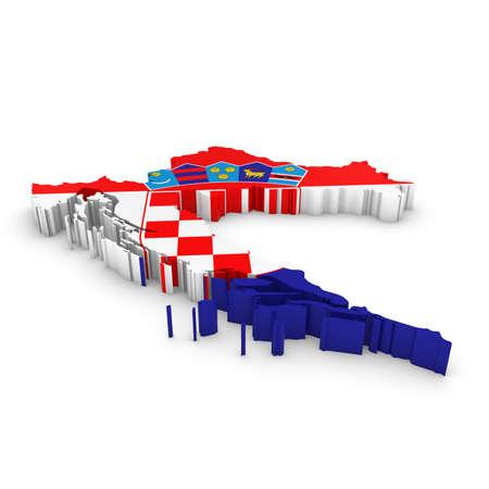 croatian: 3D Illustration Map Outline of Croatia with the Croatian Flag
