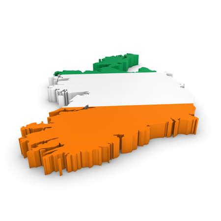 irish map: 3D Illustration Map Outline of Ireland with the Irish Flag