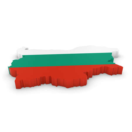 bulgarian: 3D Illustration Map Outline of Bulgaria with the Bulgarian Flag Stock Photo
