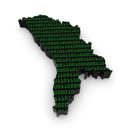 moldova: 3D Illustration Map Outline of Moldova with Green Binary Code