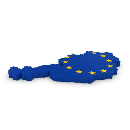 three dimensional shape: 3D Illustration Map Outline of Austria with the European Union Flag