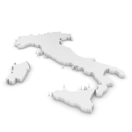 three dimensional shape: White 3D Illustration Map Outline of Italy Isolated on White