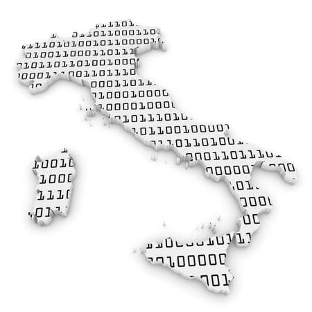 binary code: 3D Illustration Map Outline of Italy with Black and White Binary Code
