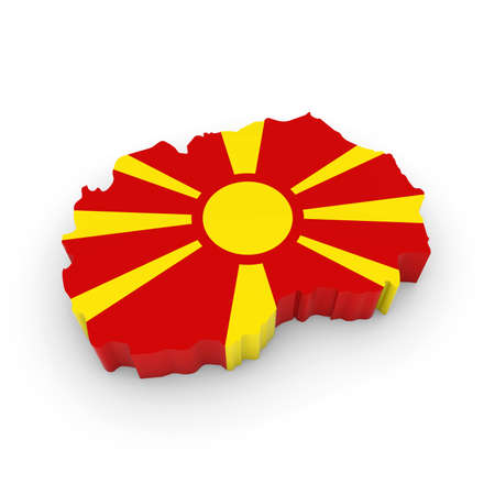 macedonian: 3D Illustration Map Outline of Macedonia with the Macedonian Flag