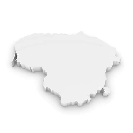 three dimensional shape: White 3D Illustration Map Outline of Lithuania Isolated on White