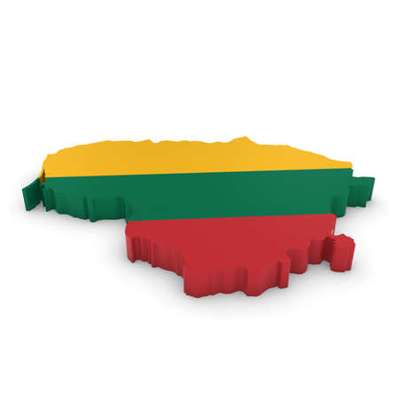 three dimensional shape: 3D Illustration Map Outline of Lithuania with the Lithuanian Flag Stock Photo