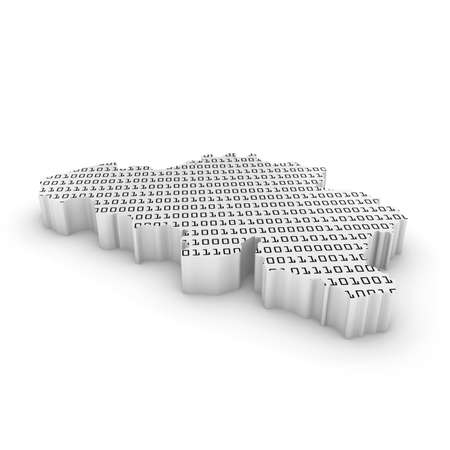 binary code: 3D Illustration Map Outline of Belgium with Black and White Binary Code