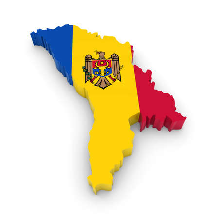 three dimensional shape: 3D Illustration Map Outline of Moldova with the Moldovan Flag Stock Photo