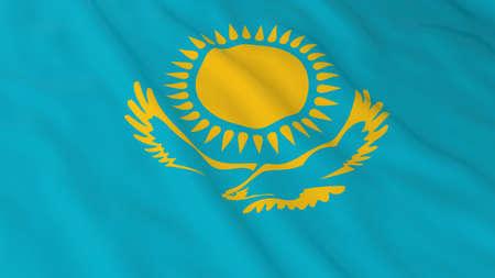 kazakhstan: Flag of Kazakhstan 3D Illustration