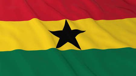 ghana: Flag of Ghana 3D Illustration