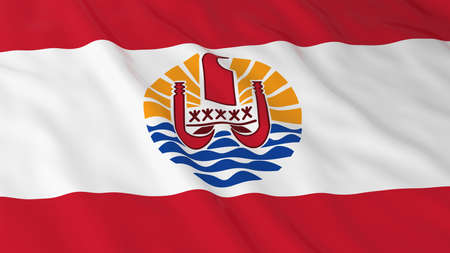 Flag of Tahiti 3D Illustration Stock Photo