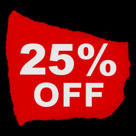 25: 25% OFF Torn Red Paper Scrap Isolated on Black Background