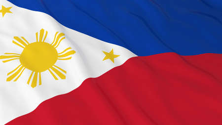 filipino: Flag of the Philippines 3D Illustration Stock Photo