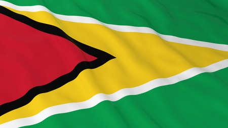 guyanese: Flag of Guyana 3D Illustration Stock Photo
