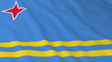 aruba flag: Flag of Aruba 3D Illustration