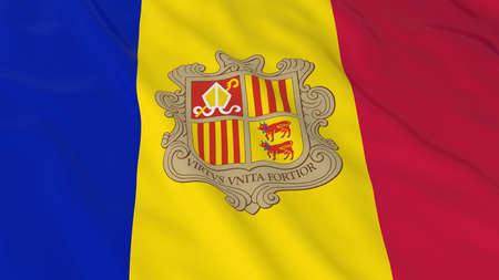 andorra: Flag of Andorra 3D Illustration Stock Photo