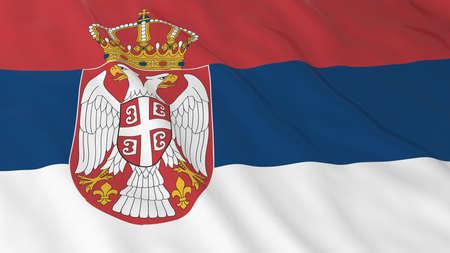 serbia: Flag of Serbia 3D Illustration Stock Photo