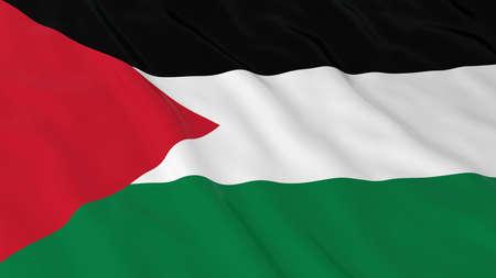 crinkled: Flag of Palestine 3D Illustration Stock Photo