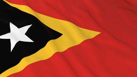 east: Flag of East Timor 3D Illustration Stock Photo
