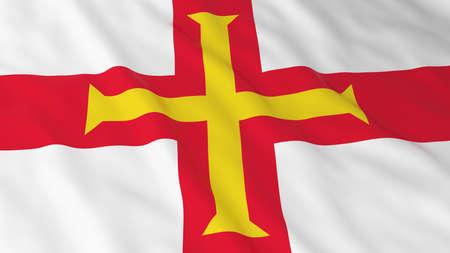 guernsey: Flag of Guernsey 3D Illustration Stock Photo