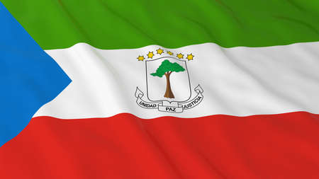 equatorial guinea: Flag of Equatorial Guinea 3D Illustration Stock Photo