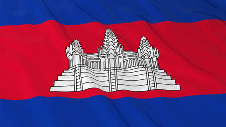 cambodian flag: Flag of Cambodia 3D Illustration Stock Photo