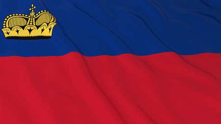 liechtenstein: Flag of Liechtenstein 3D Illustration Stock Photo