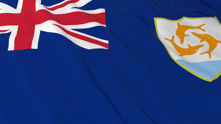 anguilla: Flag of Anguilla 3D Illustration Stock Photo