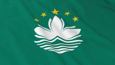 macau: Flag of Macau 3D Illustration