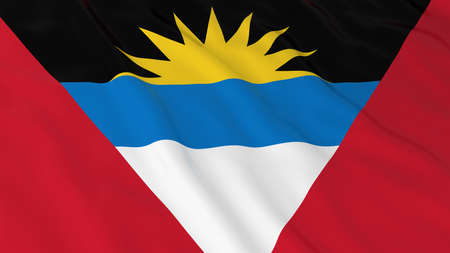 antigua: Flag of Antigua and Barbuda 3D Illustration Stock Photo