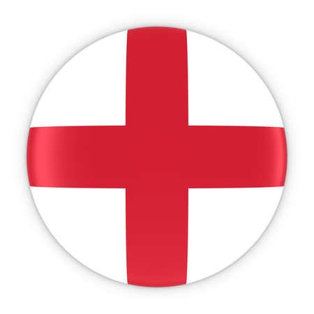 bandera inglesa: Bandera Ingl�s Bot�n - Bandera de Inglaterra Ilustraci�n de la insignia 3D Foto de archivo
