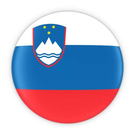 slovenian: Slovenian Flag Button - Flag of Slovenia Badge 3D Illustration