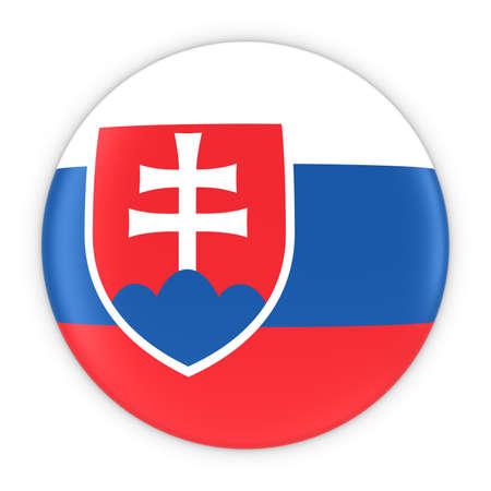 slovakian: Slovakian Flag Button - Flag of Slovakia Badge 3D Illustration